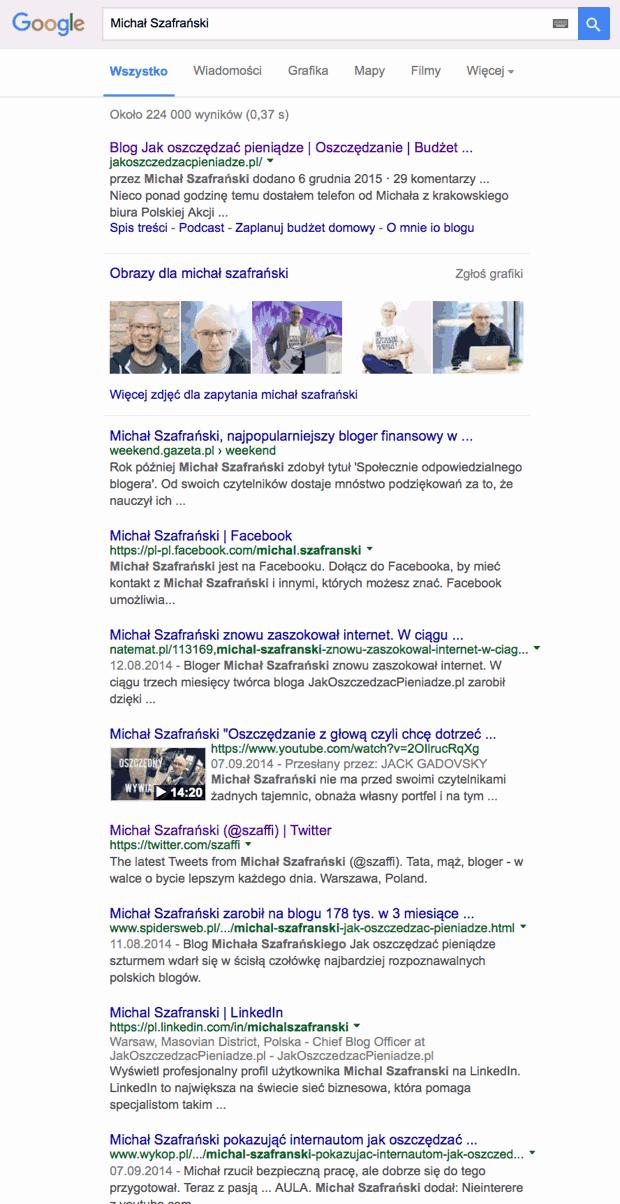 Michał Szafrański wwyszukiwarce Google