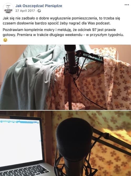 Post naFacebooku – Sposób nawygłuszenie pomieszczenia podczas nagrywania podcastów wwarunkach domowych