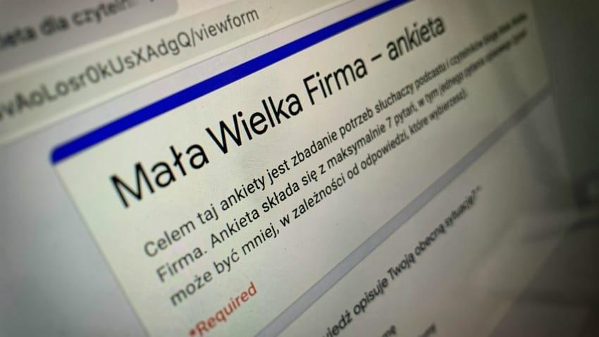 Ankieta Mała Wielka Firma.