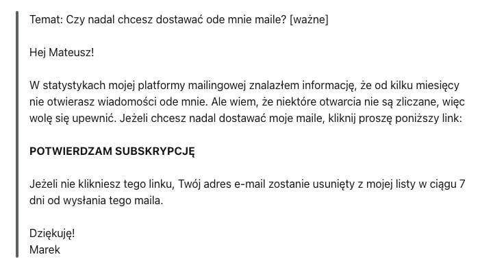 Mail potwierdzający subskrypcję