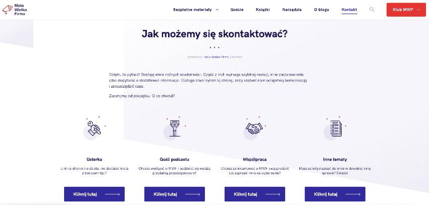 Mała Wielka Firma – strona Kontakt